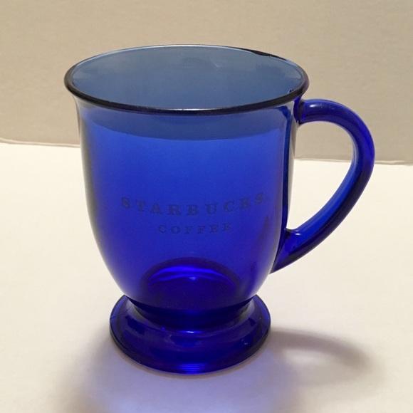 Starbucks Cobalt Blue Glass Pedestal Coffee Mug